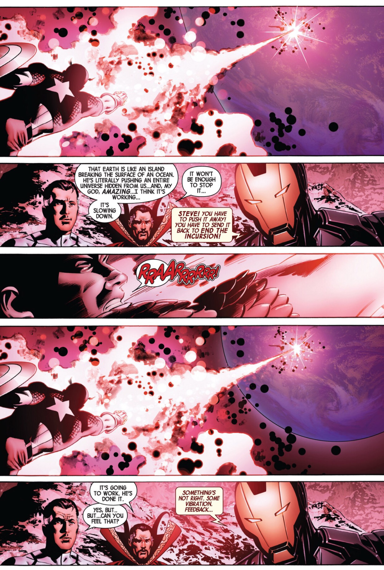 Captain America uses the infinity guantlet