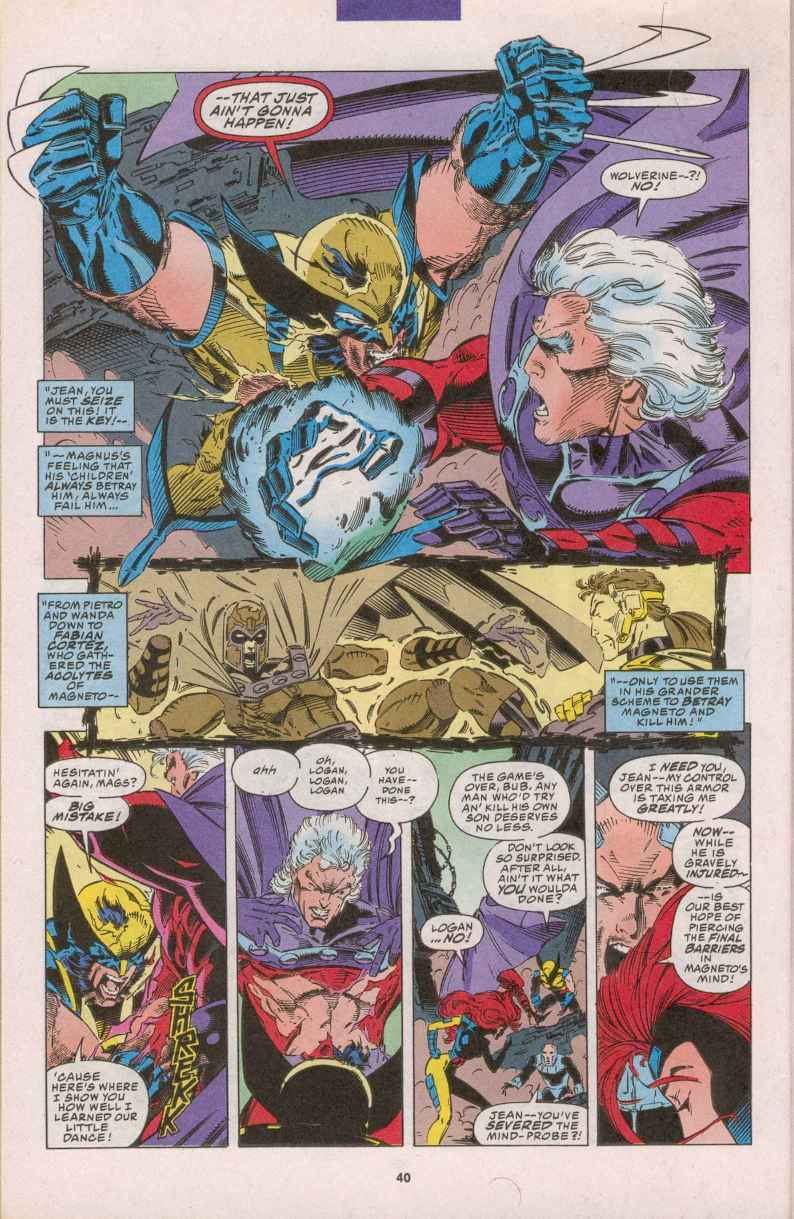 Magneto rips Wolverine's adamantium out.