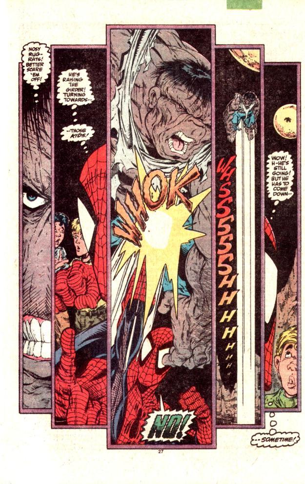 cosmic spider-man punches Hulk