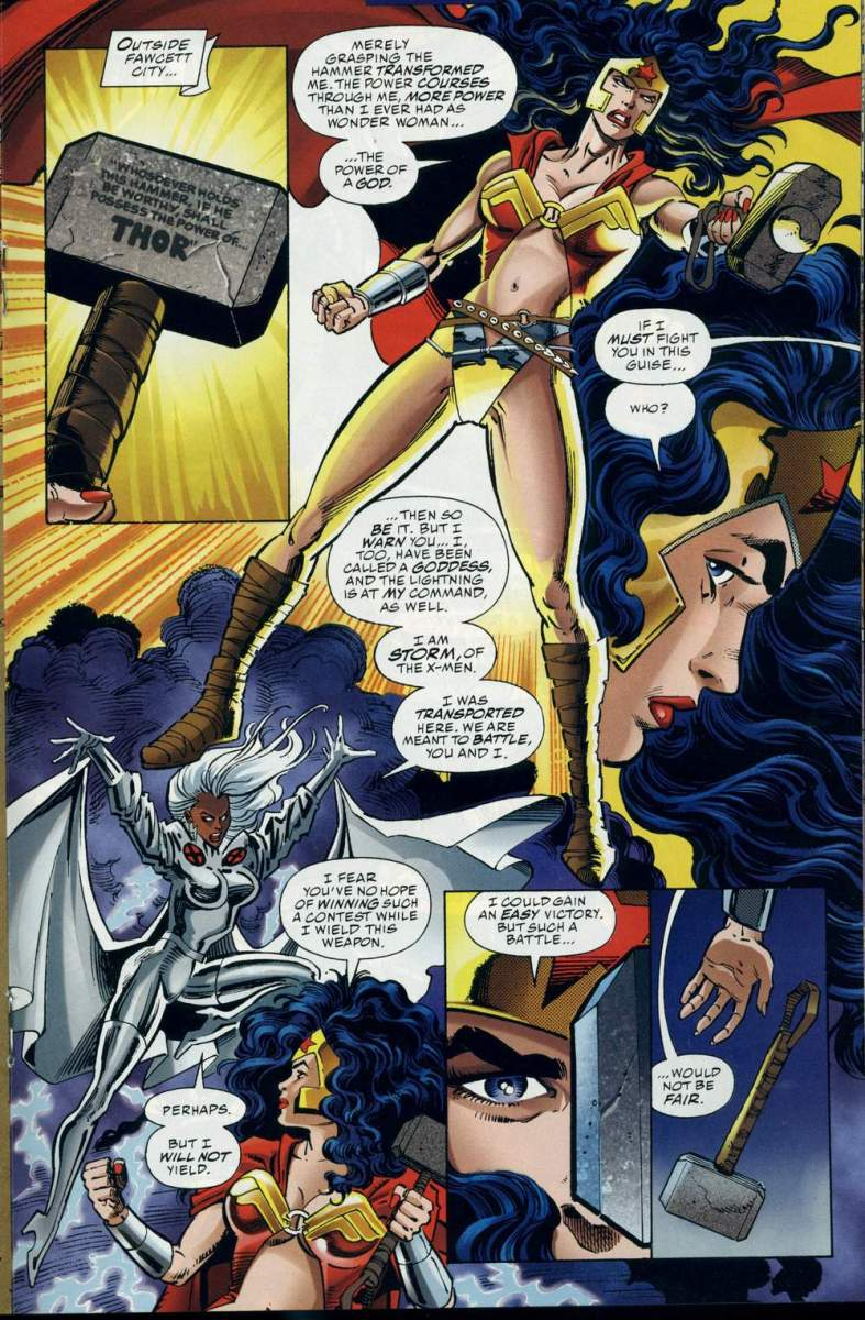 DC vs. Marvel:  Wonder Woman vs. Storm (Wonder Woman wields Mjolnir)