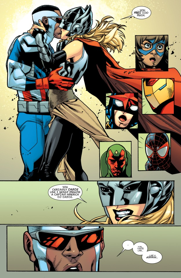 All new all different avengers thor kisses captain america