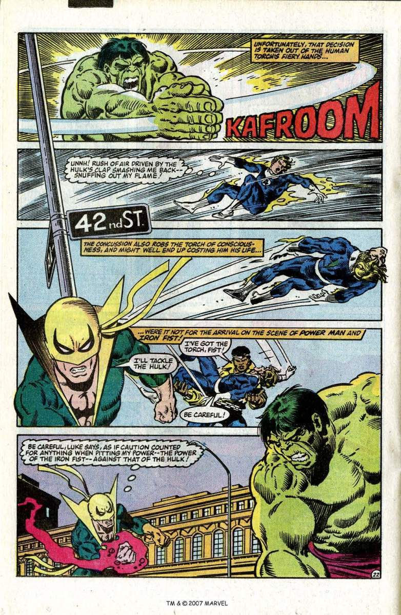 How strong is the Hulk?  The Hulk catches Iron Fist's punch (Hulk vs. Heroes For Hire)