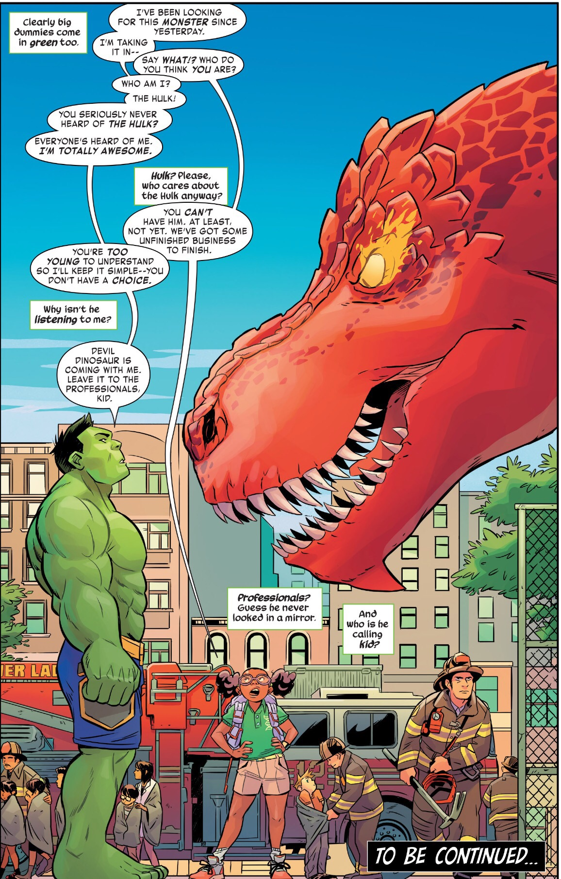 Moon Girl and Devil Dinosaur meet the Hulk