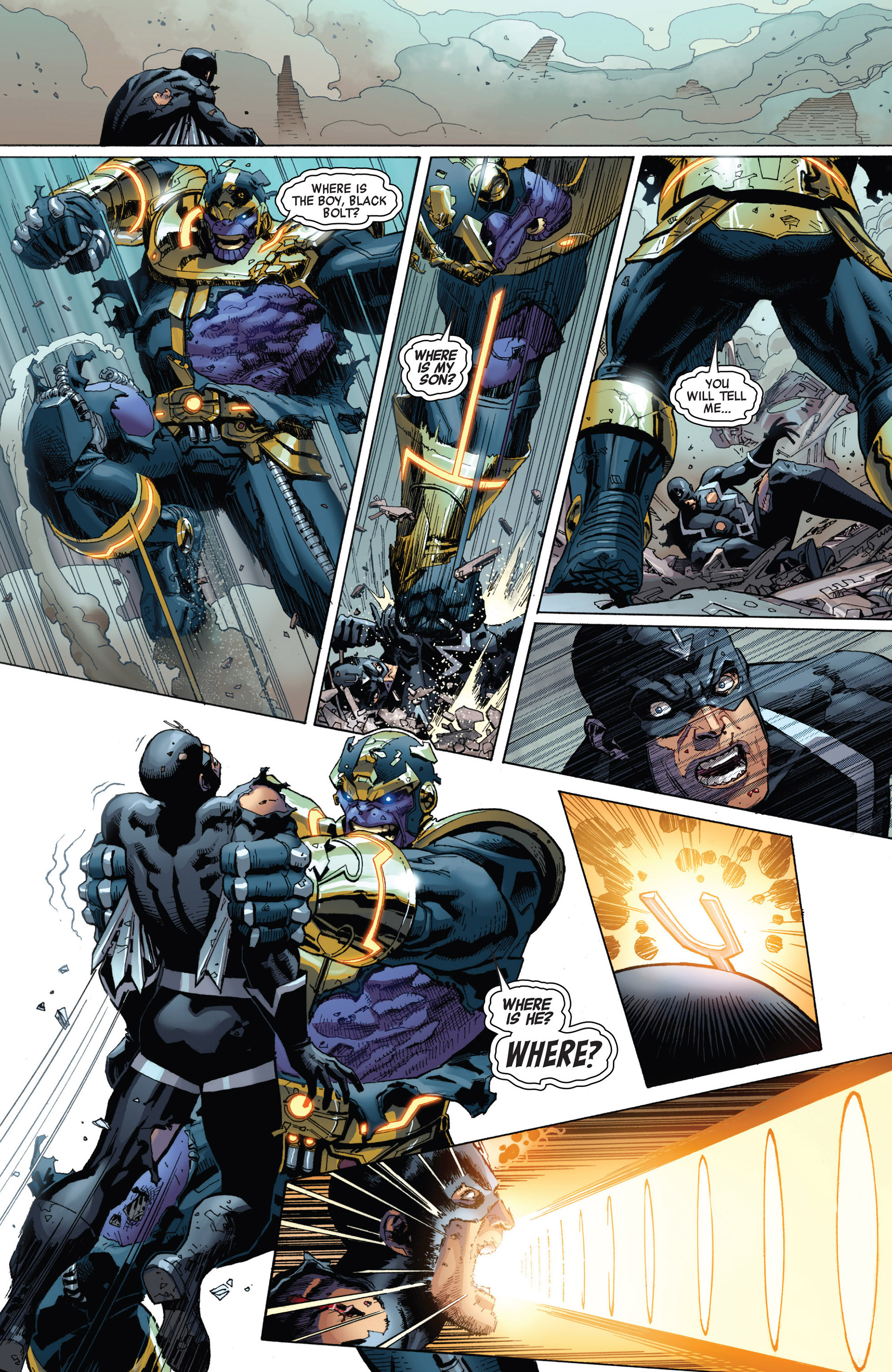 Black Bolt Vs Thanos Black Bolt S Voice Detonates The