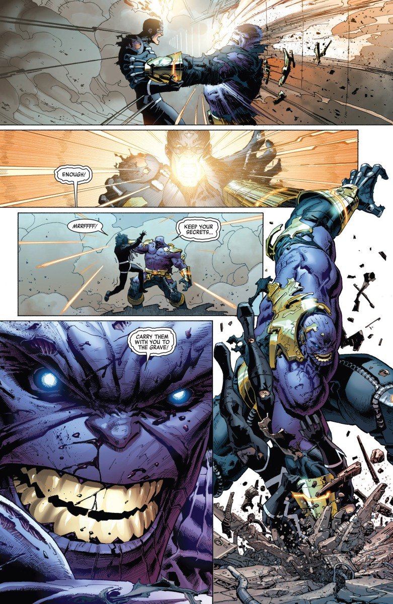 Black Bolt vs. Thanos (Black Bolt's voice detonates the Terrigen bomb)