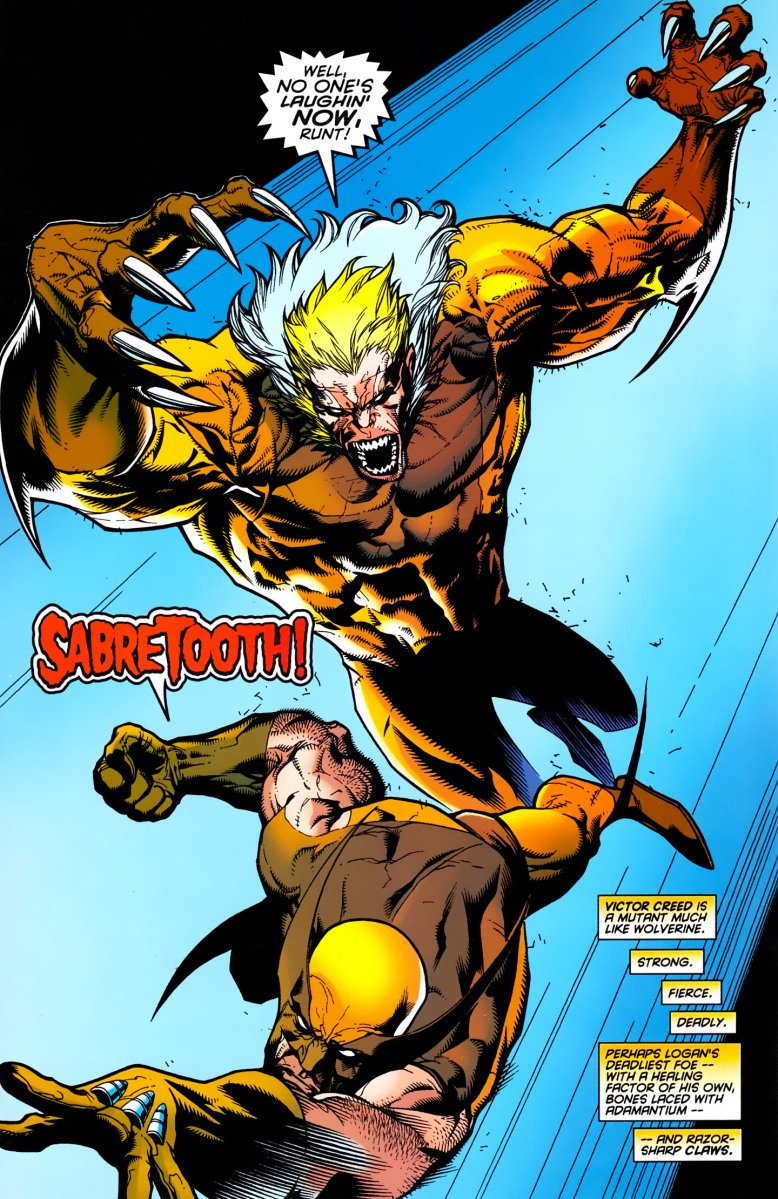 Wolverine vs. Sabertooth (Wolverine gets his adamantium back)