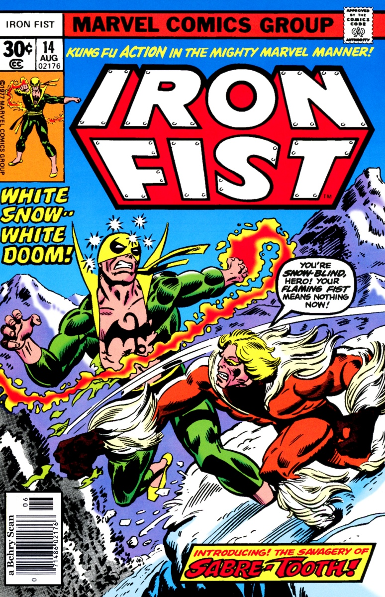 Iron Fist vs. Sabertooth (Iron Fist #14, 1977)